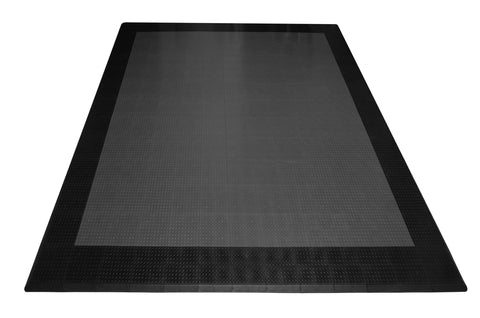 Two Car Diamond Plate Garage Mat Parking Mat grey with black border