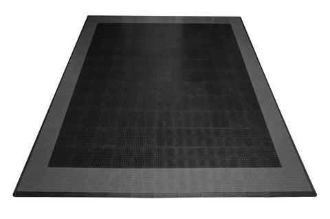 Two Car Diamond Plate Garage Mat Parking Mat black with gray border front view
