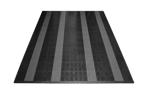 Two Car Diamond Plate Garage Mat Parking Mat black with gray stripes front view