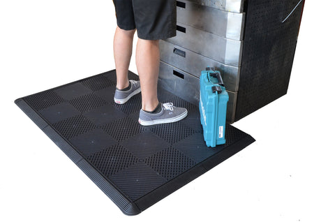 Standing on drain-thru black anti-fatigue mat work mat