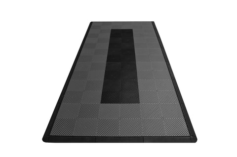 Motorcycle Mat Kit - Grey with Black Stripe Drain-thru