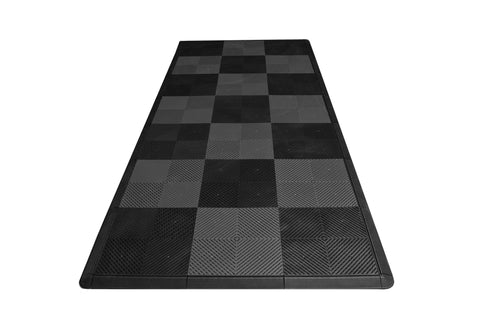 Motorcycle Mat Kit - Black & Grey Checkered Drain-thru