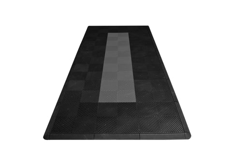 Motorcycle Mat Kit - Black with Grey Stripe Drain-thru