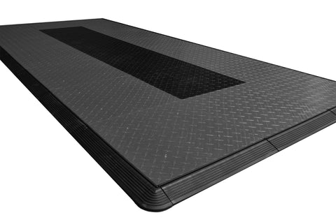 Grey With Black Stripe Diamond Plate Motorcycle Mat Kit