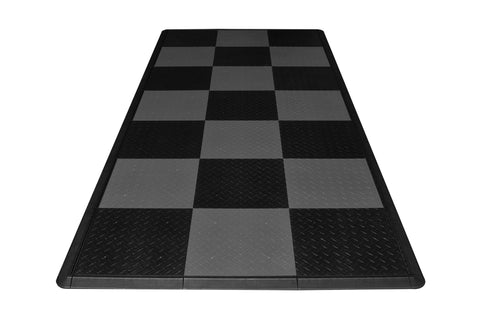 Checkered Diamond Plate Motorcycle Mat Kit