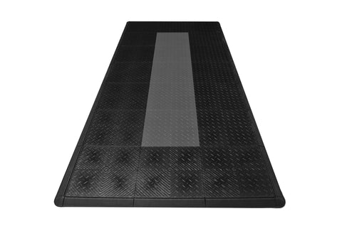Black With Grey Stripe Diamond Plate Motorcycle Mat Kit