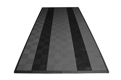 One car garage mat parking mat drain-thru gray with black stripes front view