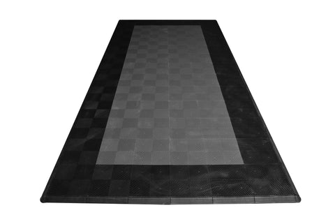 One car garage mat parking mat drain-thru gray with black border front view