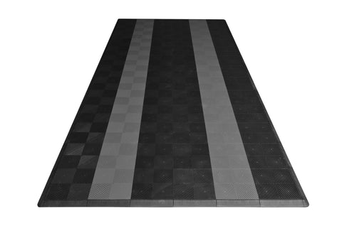 One car garage mat parking mat drain-thru black with gray stripes front view