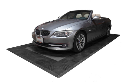 One car garage mat parking mat drain-thru grey with black border