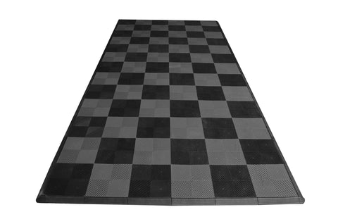 One car garage mat parking mat drain-thru gray and black checkered front view