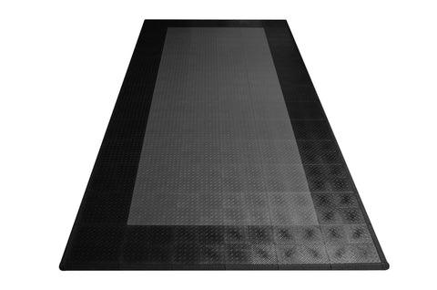Diamond Plate Single Car Garage Mat Gray with black border front view