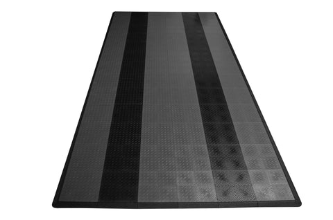 Diamond Plate Single Car Garage Mat Gray with black stripes front view