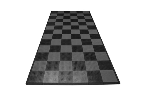 Diamond Plate Single Car Garage Mat Gray and black checkered front view