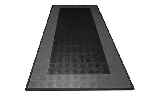 Diamond Plate Single Car Garage Mat Black with gray border front view