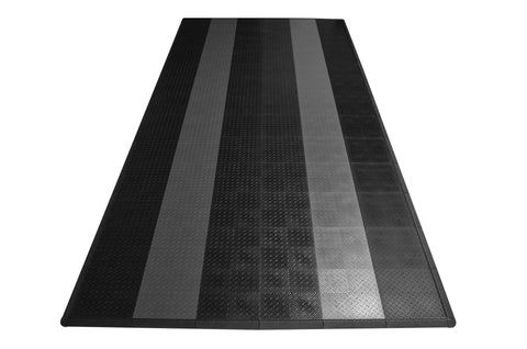 Diamond Plate Single Car Garage Mat Black with gray stripes front view