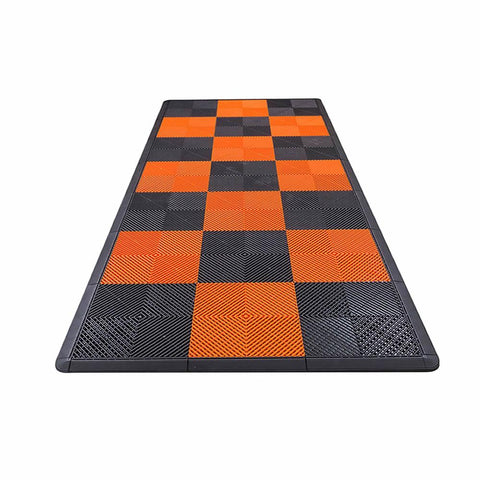 Harley Davidson Motorcycle Mat Kit - Orange & Black Checkered Swisstrax Ribtrax