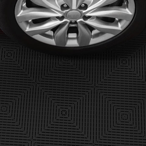 Black Drain-thru Interlocking, Modular, Plastic Garage Floor Tiles