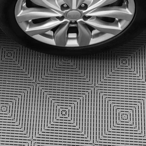 Slate Gray Drain-thru Interlocking, Modular, Plastic Garage Floor Tiles