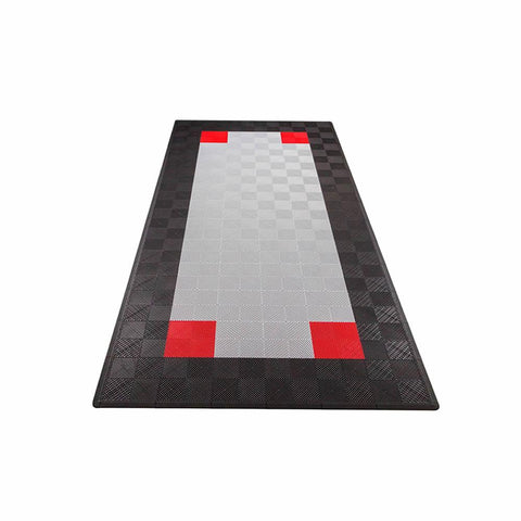 Swisstrax Ribtrax One Car Parking Mat & Garage Mat Gray, Black Border and Red Accents