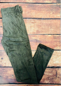 Olive Suede Leggings