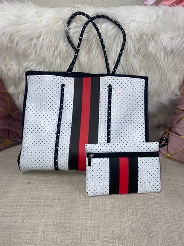 Neoprene Bag with White, Black, and Red Stripe