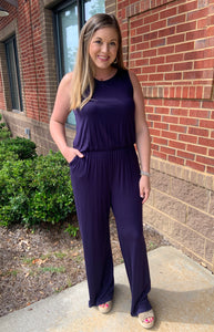 First Instict Navy Jumpsuit