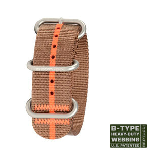 "#100 - Imola Bronze & Orange stripe w/ matte hardware, 7/8"" - 22 mm size for A-2, A-3, A-6 & B-1 Cases"