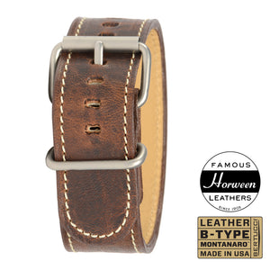"#103M - Nut Brown™ Horween® leather w/ matte hardware, 1"" - 26 mm size for A-4 & A-5 Cases"