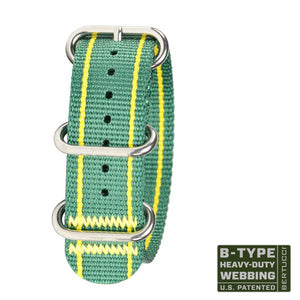 "#144HP - Augusta Verde & yellow stripes w/ high polish hardware, 7/8"" - 22 mm size for A-2, A-3, A-6 & B-1 Cases"