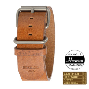 "#190H - Scotch Veg. Tanned Horween® w/ matte hardware, 1"" - 26 mm size for A-4 & A-5 Cases"