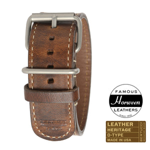 "#206H - Nut Brown Horween® w/ matte hardware, 1"" - 26 mm size for A-4 & A-5 Cases"