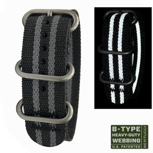 "#223 - Black with Reflective Stripes w/ matte hardware, 7/8"" - 22 mm size for A-2, A-3, A-6, B-1, D-1 & G-1 Cases"