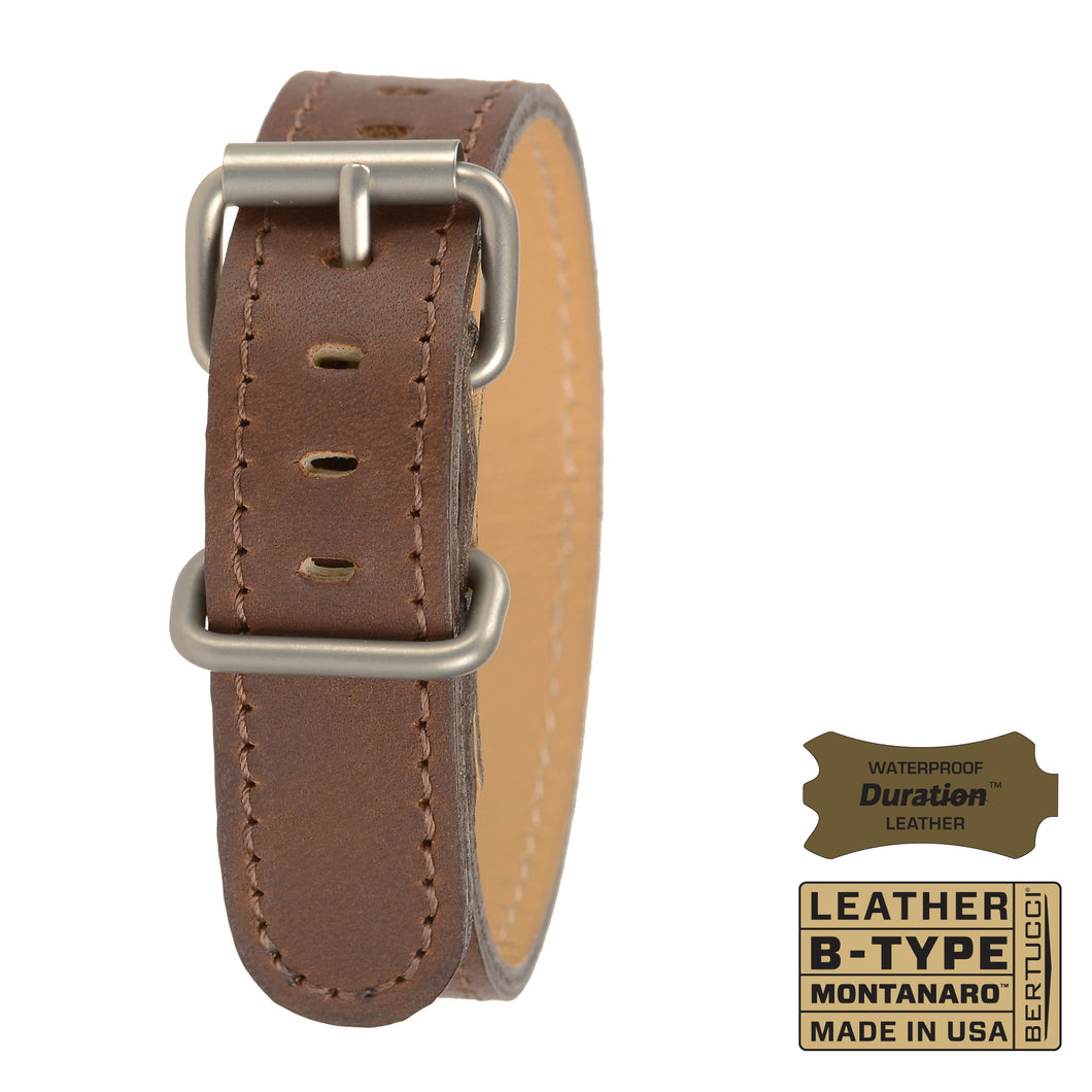 #230M - Brown Mountaineer Duration™ leather w/ matte hardware, 3/4
