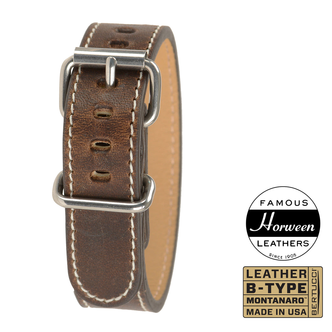 #234M - Nut Brown™ Horween® leather w/ high polish hardware, 3/4