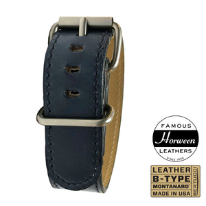 "#250M - Mariner Blue Horween® leather w/ matte hardware, 7/8"" - 22 mm size for A-2, A-3, A-6 & B-1 Cases"