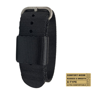 "#260 - Black Comfort-Webb™ webbing band w/ matte hardware, 7/8"" - 22 mm size for A-2, A-3, A-6, B-1, D-1 & G-1 Cases"