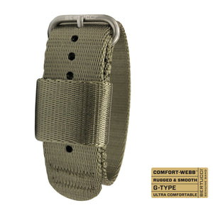 "#261 - Field Drab Comfort-Webb™ webbing band w/ matte hardware, 7/8"" - 22 mm size for A-2, A-3, A-6, B-1, D-1 & G-1 Cases"