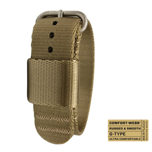 "#262 - Field Khaki Comfort-Webb™ webbing band w/ matte hardware, 7/8"" - 22 mm size for A-2, A-3, A-6, B-1, D-1 & G-1 Cases"