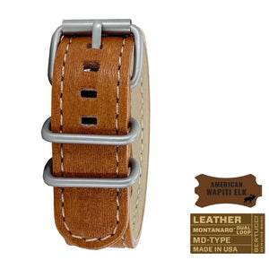 "#281M - Wyoming Brown Wapiti Elk w/ matte hardware, 7/8"" - 22 mm size for A-2, A-3, A-6 & B-1 Cases"