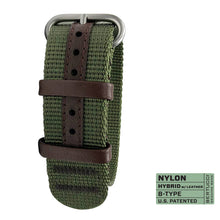 "#283 - Forest HYBRID WEBBING + LEATHER, 7/8"" - 22 mm size for A-2, A-3, A-6 & B-1 Cases"