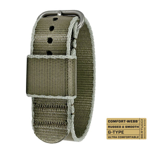 "#321 - Endeavor Drab w/ Gray-Drab Edging Comfort-Webb™ webbing band w/ matte hardware, 7/8"" - 22 mm size for A-2, A-3, A-6, B-1, D-1 & G-1 Cases"