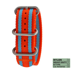 "#346 - Gulf Oil Orange w/ Blue stripes, matte hardware, 7/8"" - 22 mm size for A-2, A-3, A-6 & B-1 Cases"