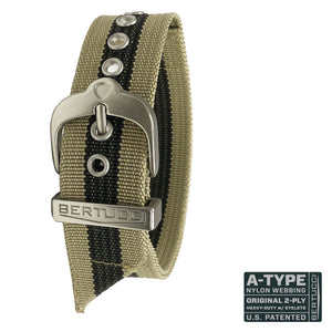 "#59 - khaki / black stripe w/ silvertone hardware, 7/8"" - 22 mm size for A-2, A-3, A-6 & B-1 Cases"