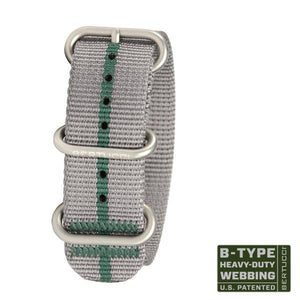 "#98 - Silverstone Gray & British Racing Green stripe w/ matte hardware, 7/8"" - 22 mm size for A-2, A-3, A-6 & B-1 Cases"