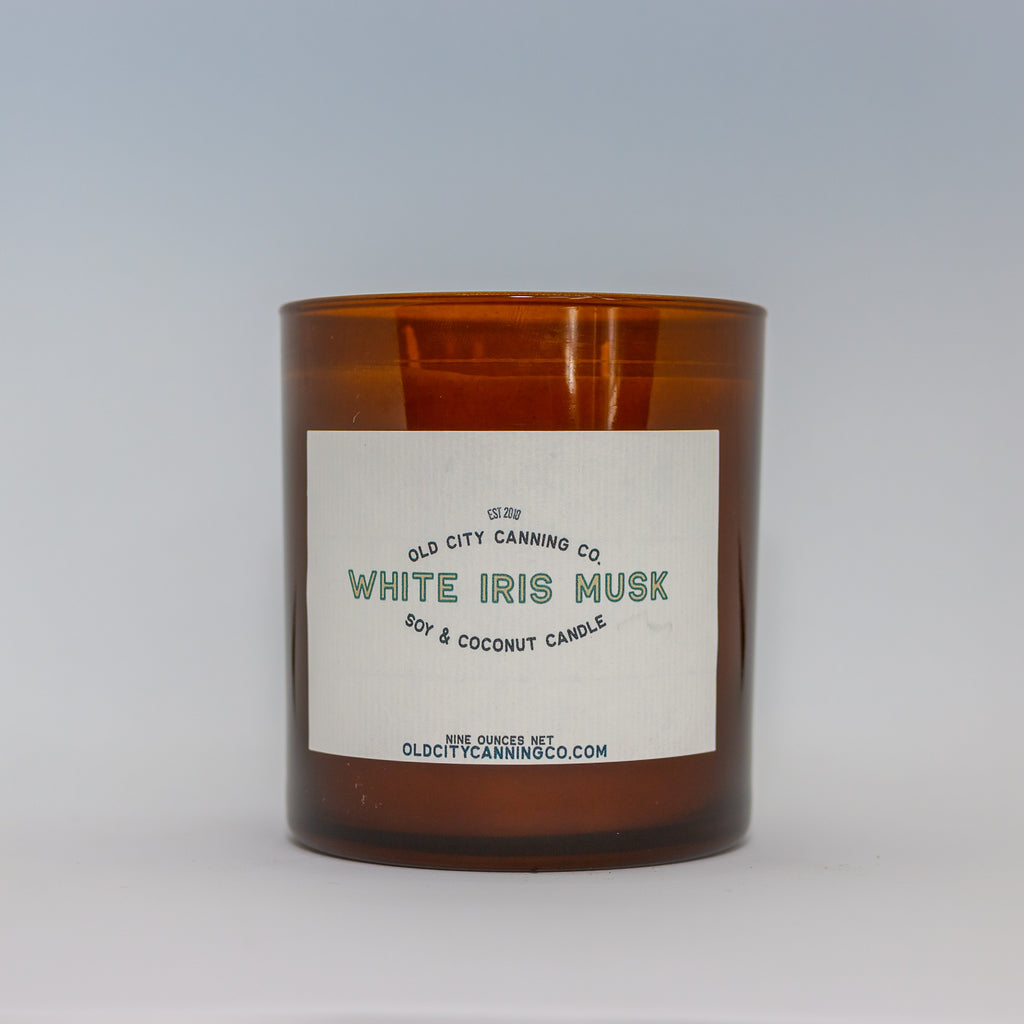 White Iris Musk Candle Candle Old City Canning Co. Double Wick Tumbler Gift Box
