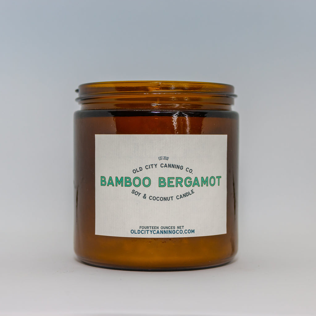 Bamboo Bergamot Candle Candle Old City Canning Co. Large Amber Jar