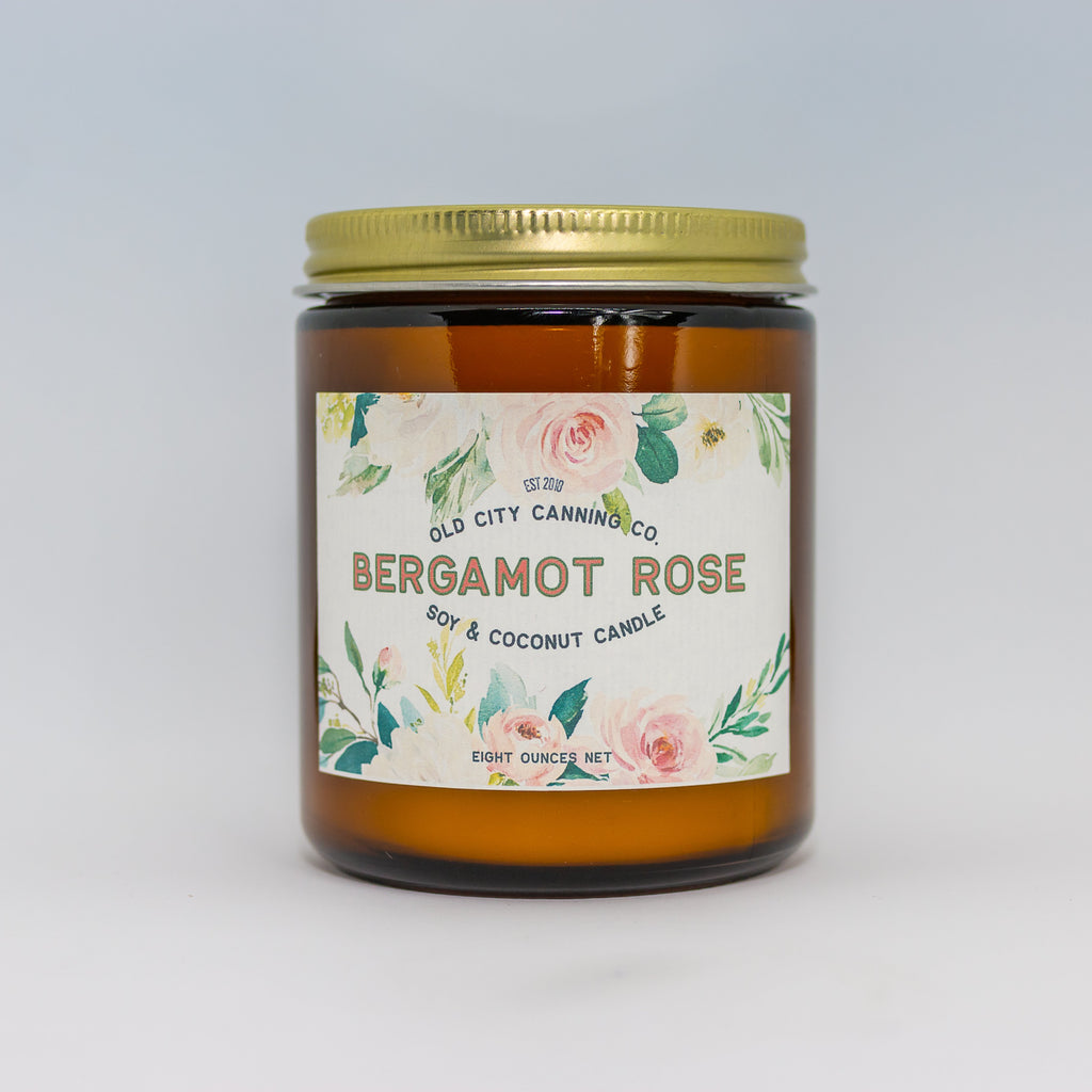 Bergamot Rose Candle Candle Old City Canning Co. Medium Amber Jar