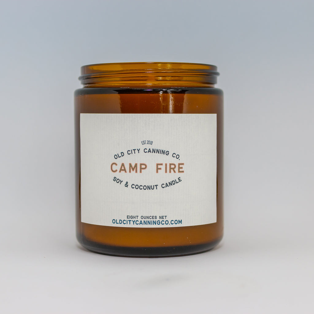 Campfire Candle Candle Old City Canning Co. Medium Amber Jar