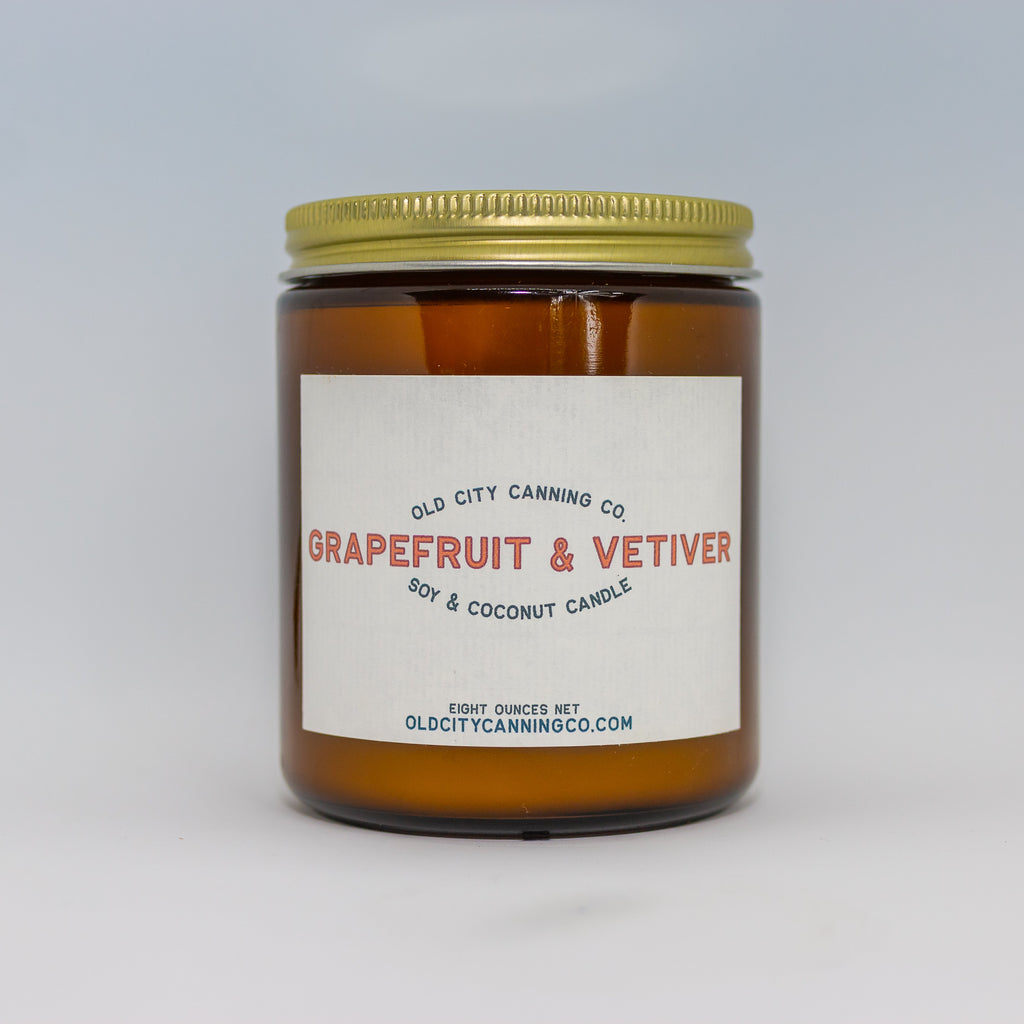 Grapefruit + Vetiver Candle Candle Old City Canning Co. Medium Amber Jar